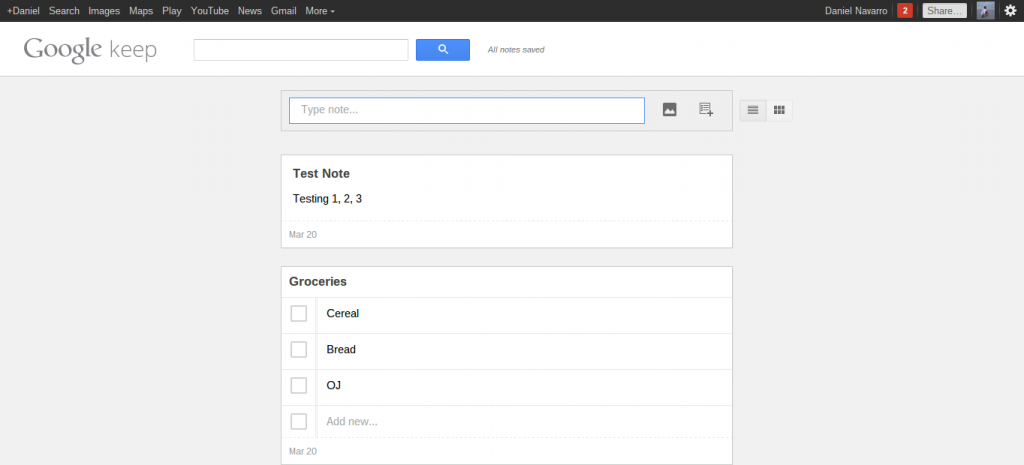 google keep web app