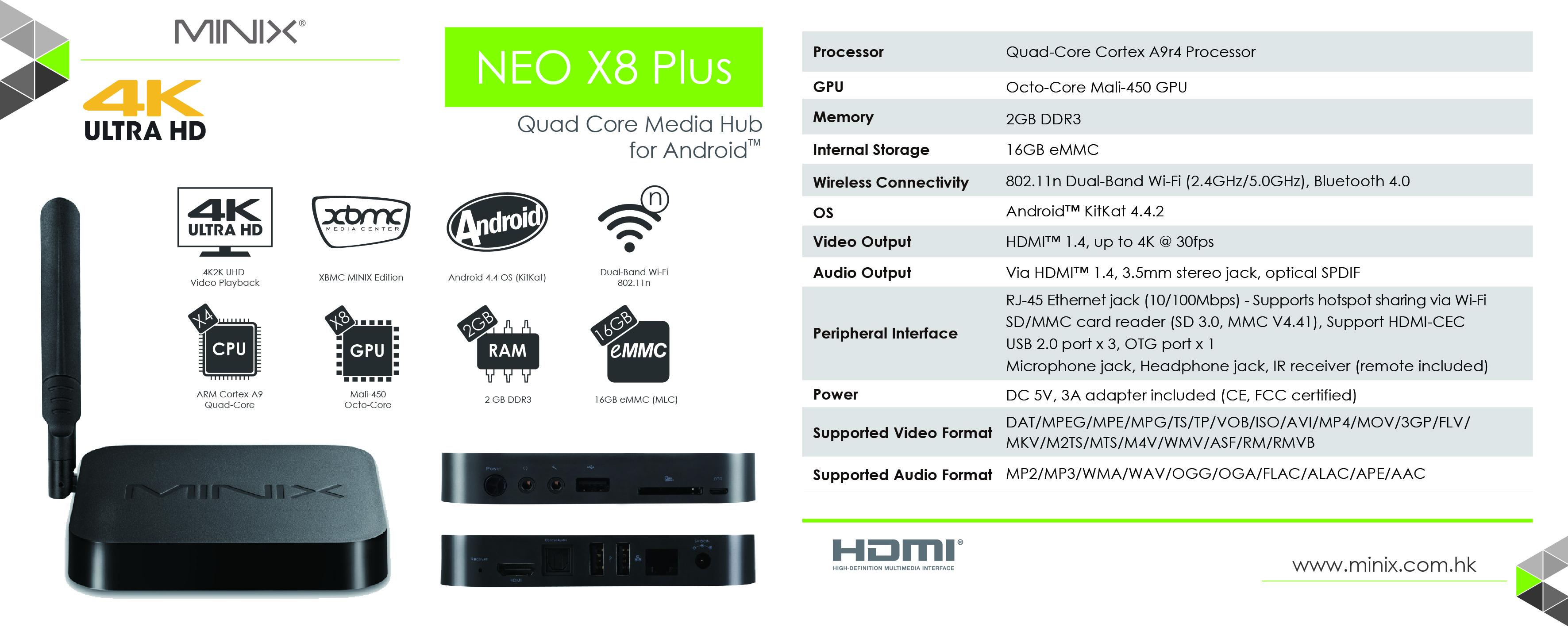 NEO X8 Plus - Spec Sheet