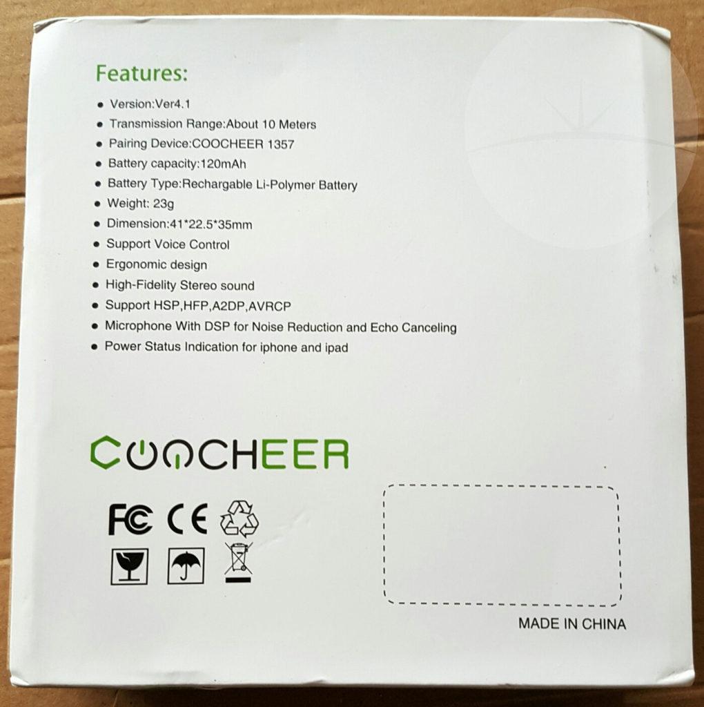Coocheer Headset - Box Back