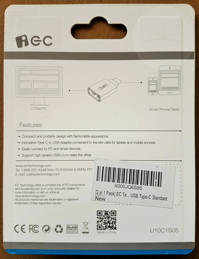 EC USB-C to USB - Packaging Back