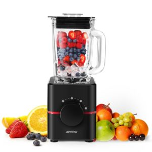 black friday Blender with Glass Jar by BESTEK- UL Certified, BPA Free 550 Watts Smoothie Blender, 2-Speed Function, Professional Food Processor, Mixer, Juicer, Multi-functional, 1.5L,Black