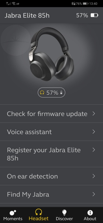 Jabra Elite 85h - App Settings